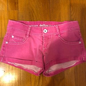 Neon pink shorts with white detail 💕